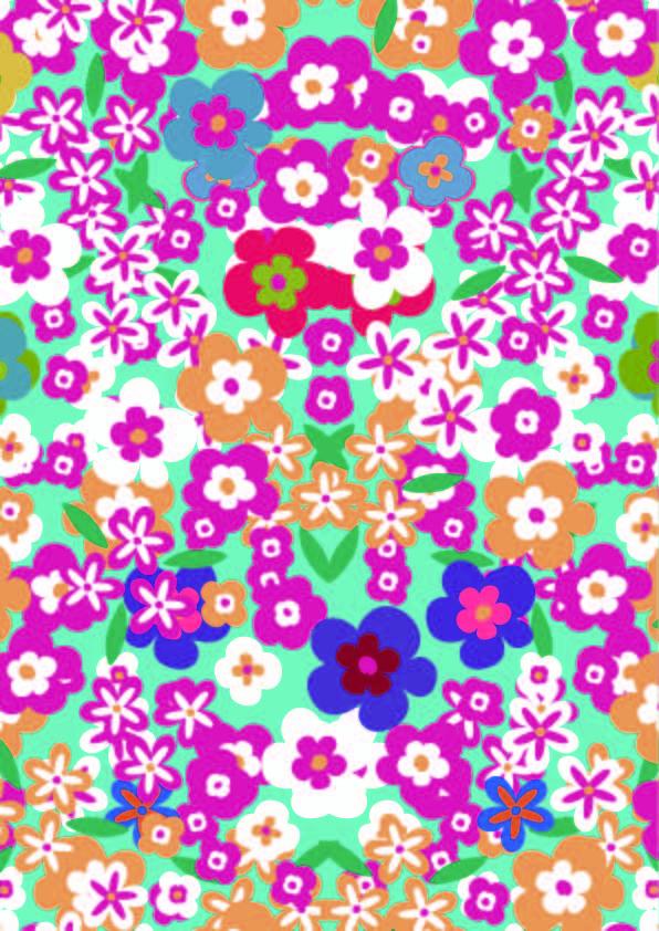 多彩几何花朵图案印花矢量图服装纺织数码印花素材-POP花型网