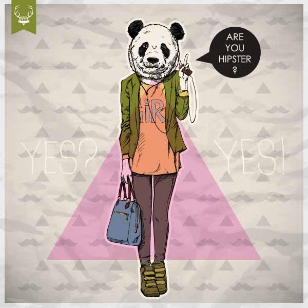 卡通人物熊猫字母印花矢量图服装裁片T恤烫图印花花型素材-POP花型网