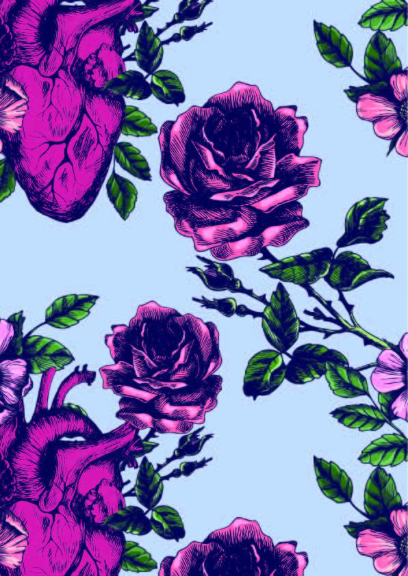 植物牡丹花朵拼接印花矢量图服装纺织数码印花花型素材-POP花型网
