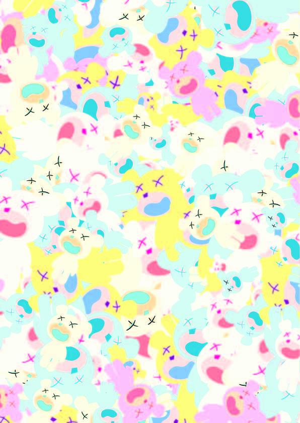 几何多彩卡通熊印花矢量图服装纺织数码印花花型素材-POP花型网