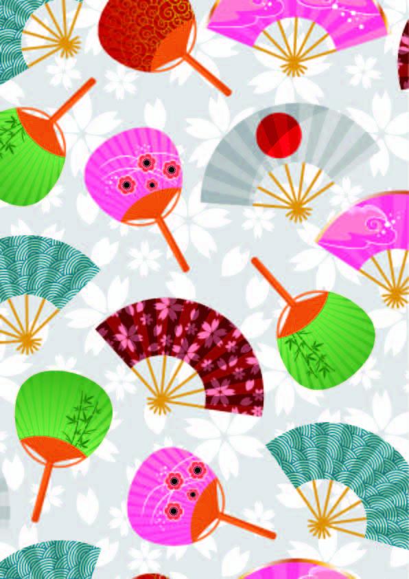 几何花纹扇子印花矢量图服装纺织数码印花花型素材-POP花型网