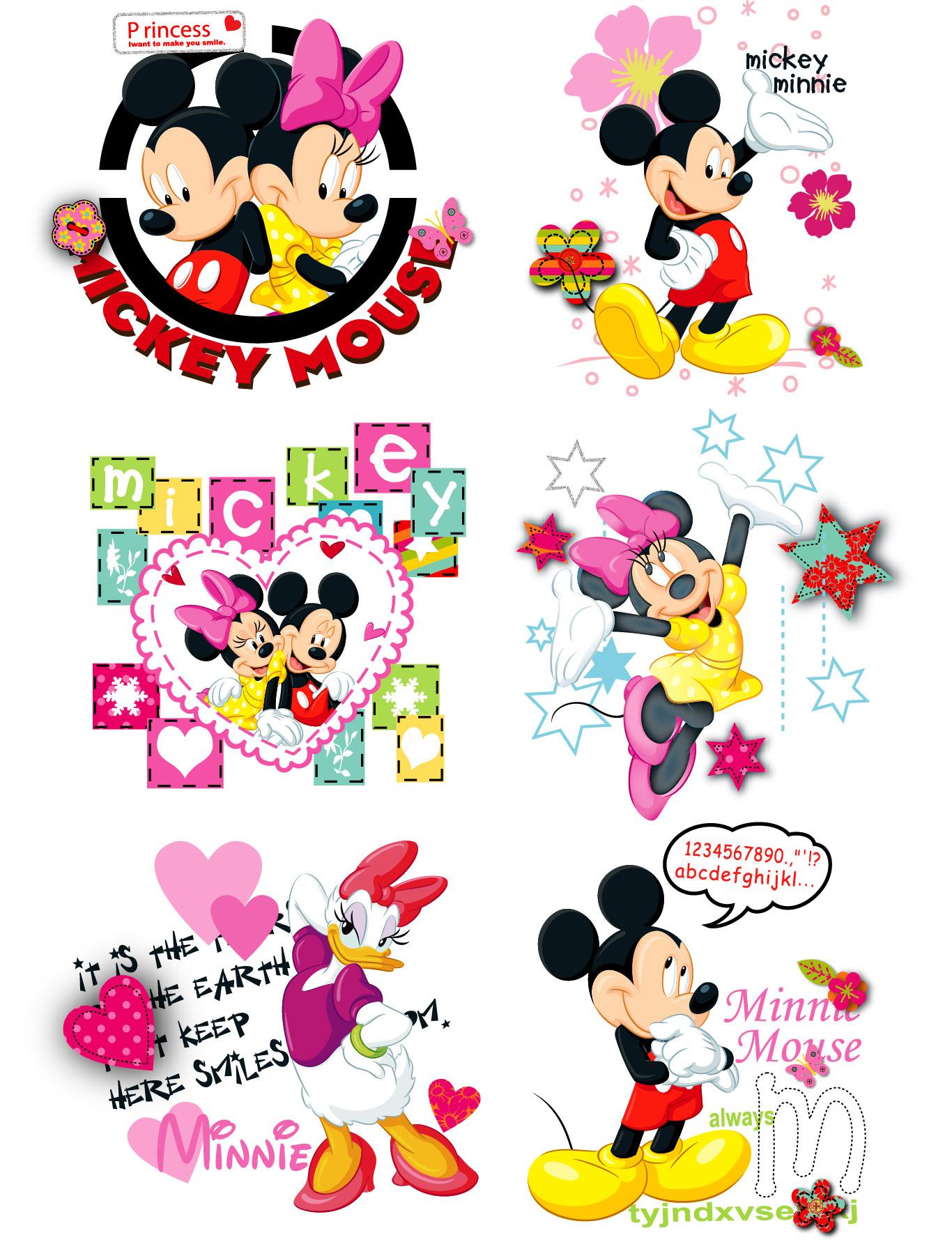 卡通动漫迪士尼米奇字母印花矢量图服装裁片T恤烫图印花花型素材-POP花型网
