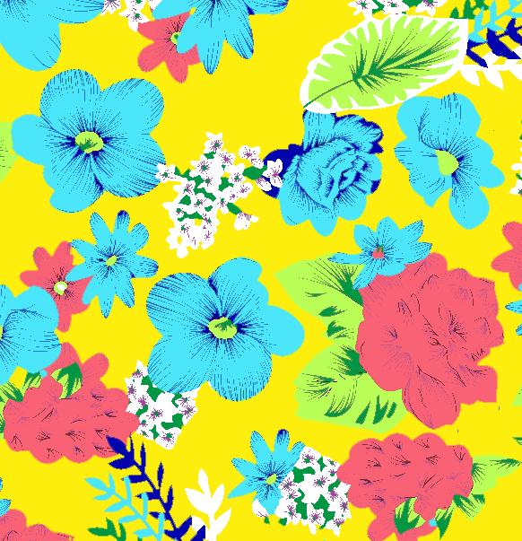 植物花卉牡丹花拼接印花矢量图服装纺织水印数码印花金昌花型素材-POP花型网