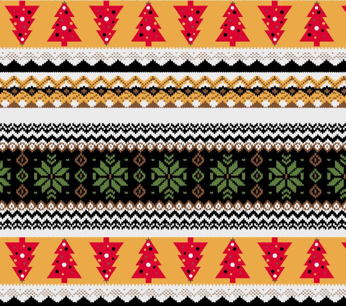 几何图案圣诞树印花矢量图服装纺织水印数码印花金昌花型素材-POP花型网
