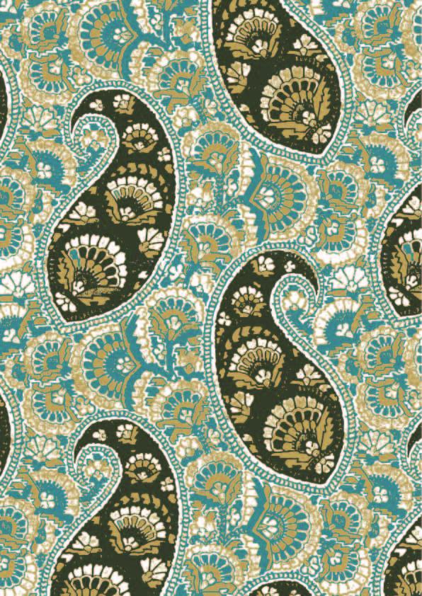 复古民族风腰果花纹印花矢量图服装纺织数码印花花型素材-POP花型网