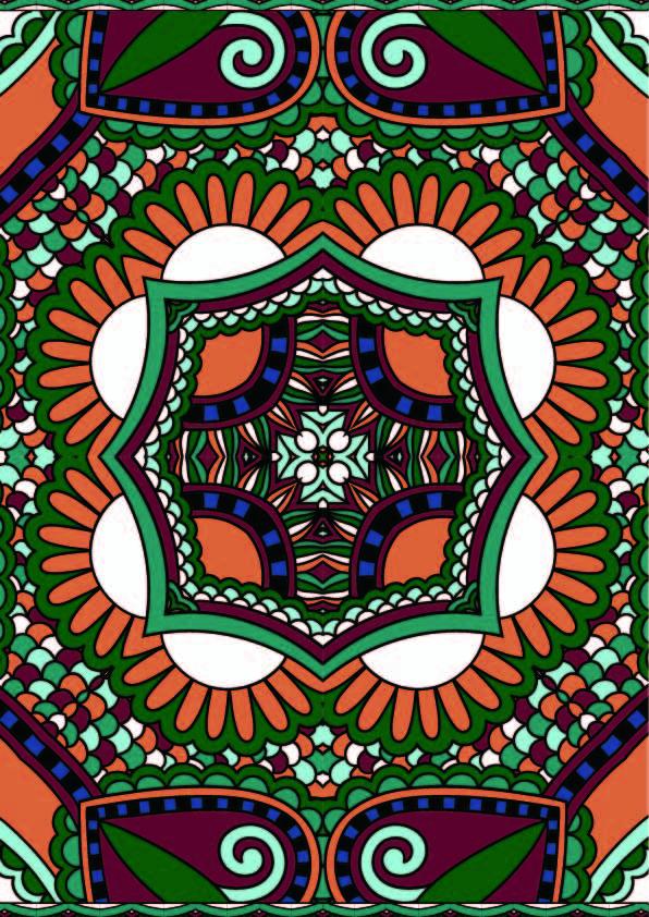 色彩复古花纹印花矢量图服装纺织数码印花花型素材-POP花型网