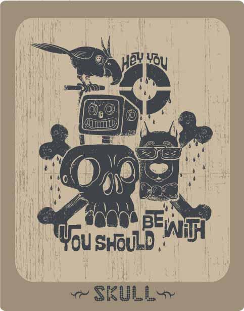 骷髅头鹦鹉字母印花矢量图服装裁片T恤烫图印花花型素材-POP花型网