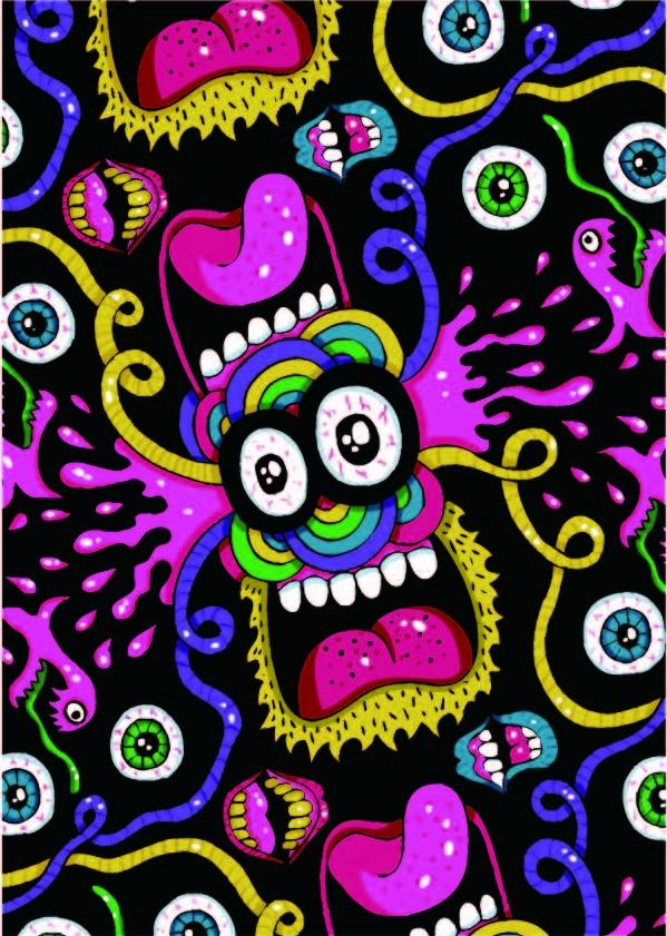卡通色彩眼睛嘴巴印花矢量图服装纺织数码印花花型素材-POP花型网