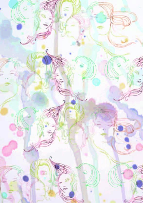 色彩拼接人物印花矢量图服装纺织数码印花花型素材-POP花型网