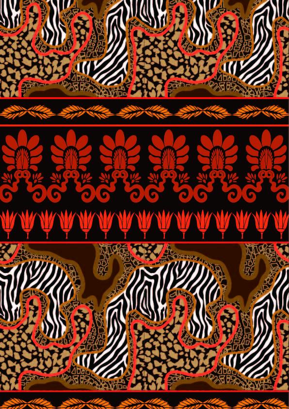 民族风几何斑马花纹印花矢量图服装纺织数码印花花型素材-POP花型网