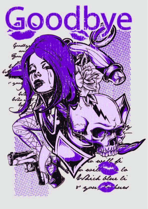 女士人物字母骷髅头印花涂鸦矢量图服装裁片T恤烫图印花花型素材-POP花型网