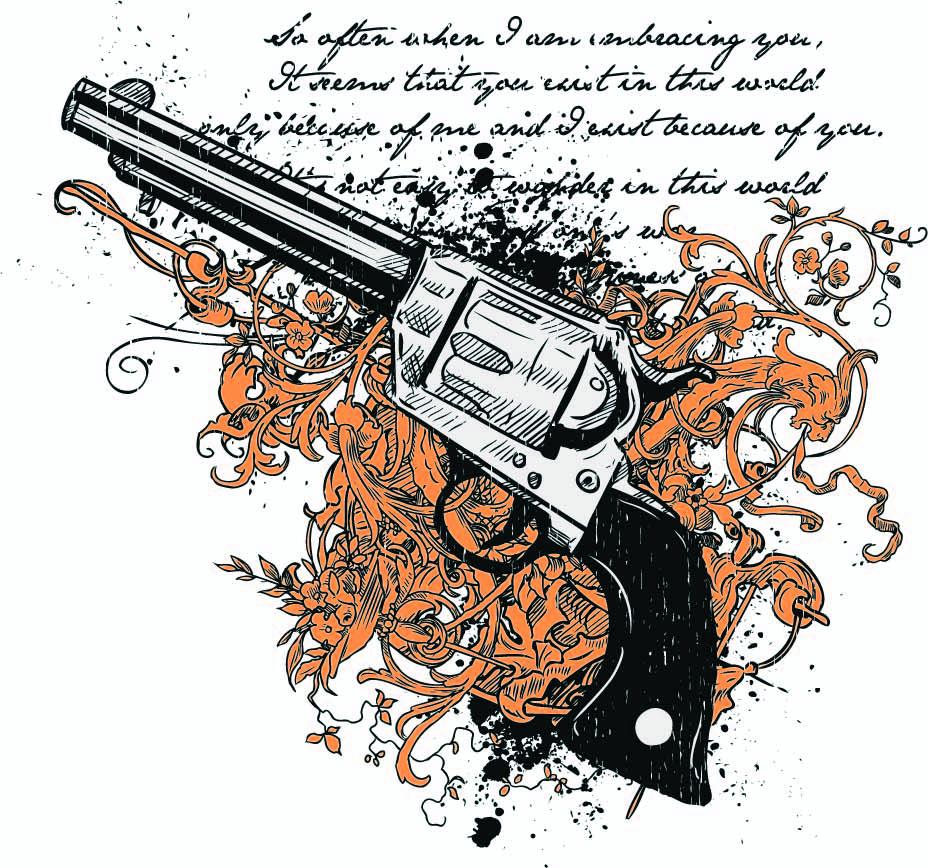 几何花纹手枪字母印花矢量图服装裁片T恤烫图印花花型素材-POP花型网
