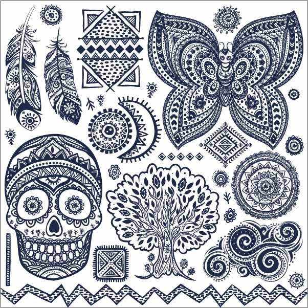 民族风几何花纹蝴蝶羽毛骷髅头印花矢量图服装裁片T恤烫图印花花型素材-POP花型网