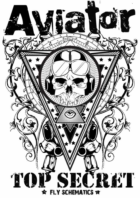 几何条纹字母骷髅头印花矢量图服装裁片T恤烫图印花花型素材-POP花型网