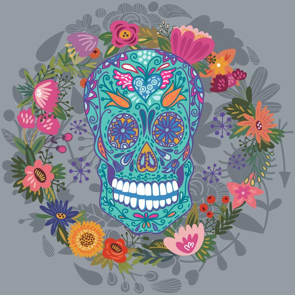 植物花卉骷髅头花纹印花矢量图服装裁片T恤烫图印花花型素材-POP花型网