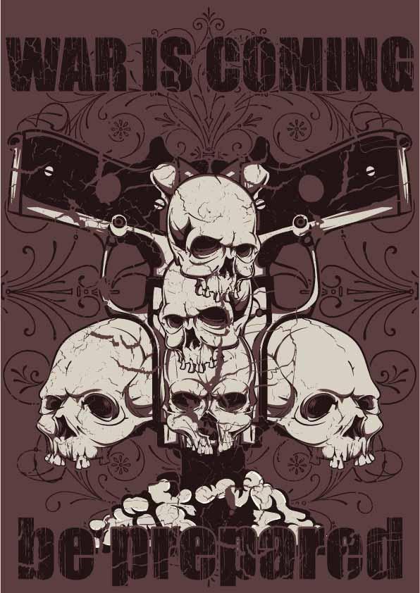 骷髅头字母手枪印花矢量图服装裁片T恤烫图印花花型素材-POP花型网