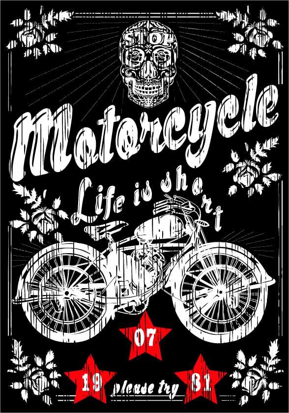 几何花纹字母骷髅头摩托车印花矢量图服装裁片T恤烫图印花花型素材-POP花型网