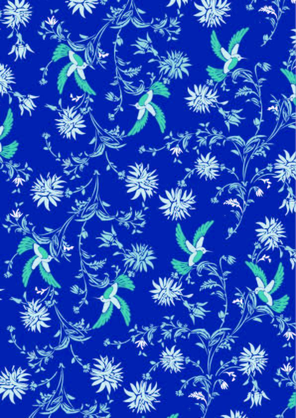 植物花纹飞鸟拼接印花矢量图服装纺织数码印花花型素材-POP花型网