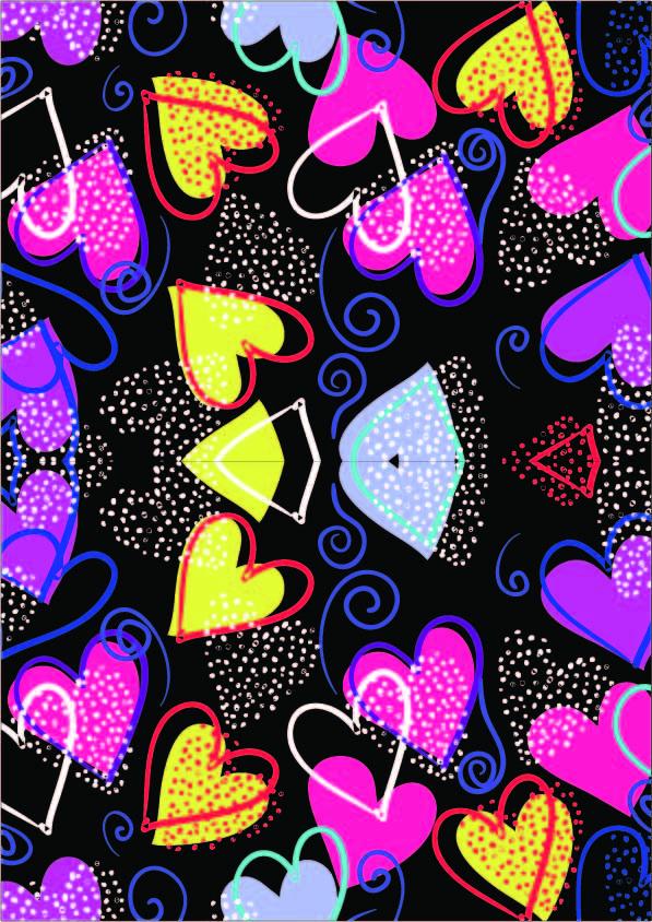 几何爱心点点图案印花矢量图服装纺织数码印花花型素材-POP花型网