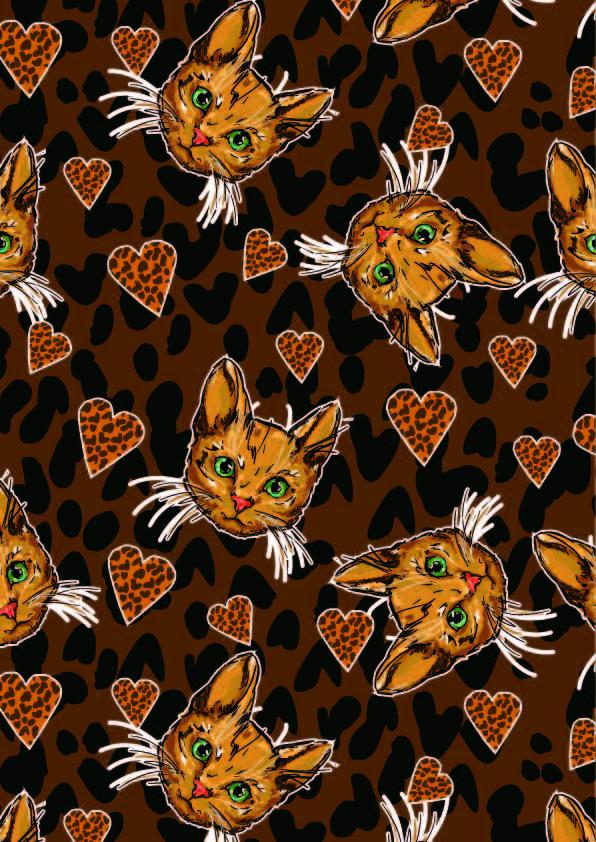 豹纹爱心猫咪印花矢量图服装纺织数码印花花型素材-POP花型网
