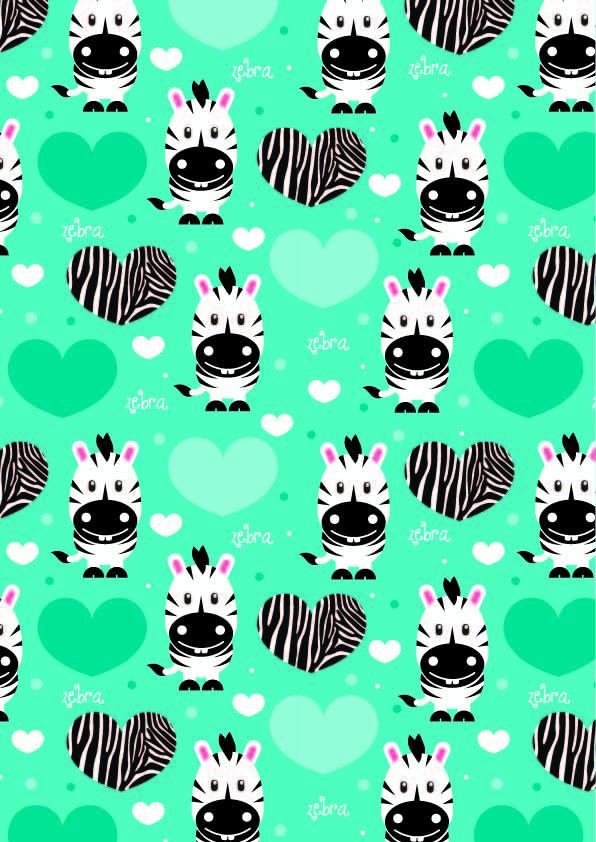 卡通动物斑马爱心字母印花矢量图服装纺织数码印花花型素材-POP花型网