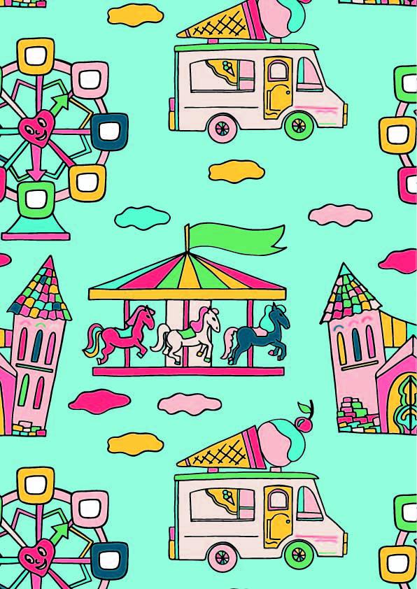 卡通旋转木马冰淇淋车印花矢量图服装纺织数码印花花型素材-POP花型网