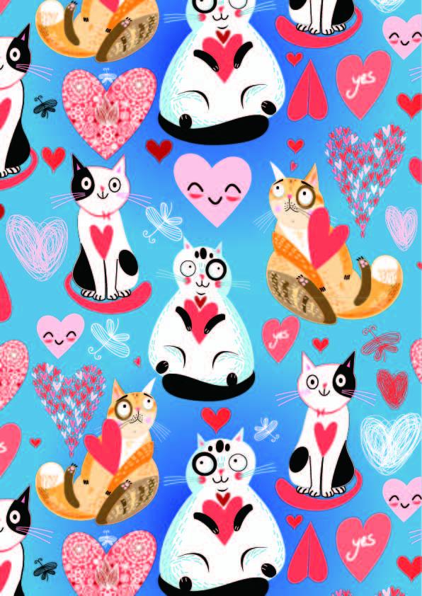 卡通动物猫咪爱心印花矢量图服装纺织数码印花花型素材-POP花型网