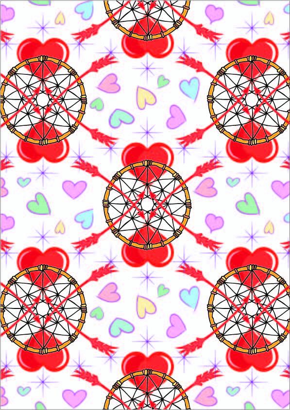 几何爱心图案拼接印花矢量图服装纺织数码印花花型素材-POP花型网