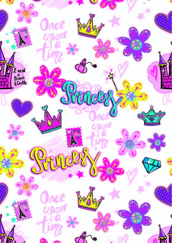 字母皇冠城堡印花矢量图服装纺织数码印花花型素材-POP花型网
