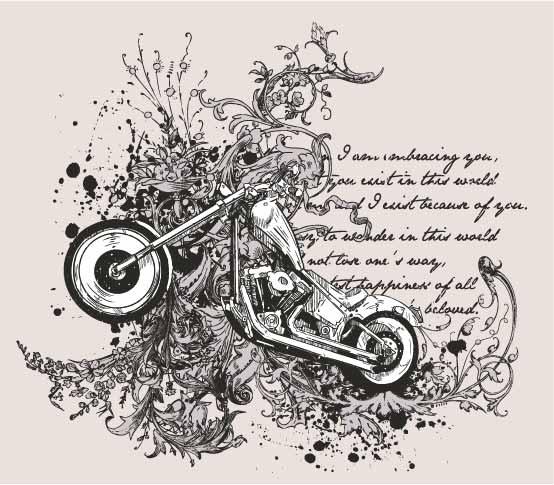 几何花纹字母摩托车印花矢量图服装裁片T恤烫图印花花型素材-POP花型网