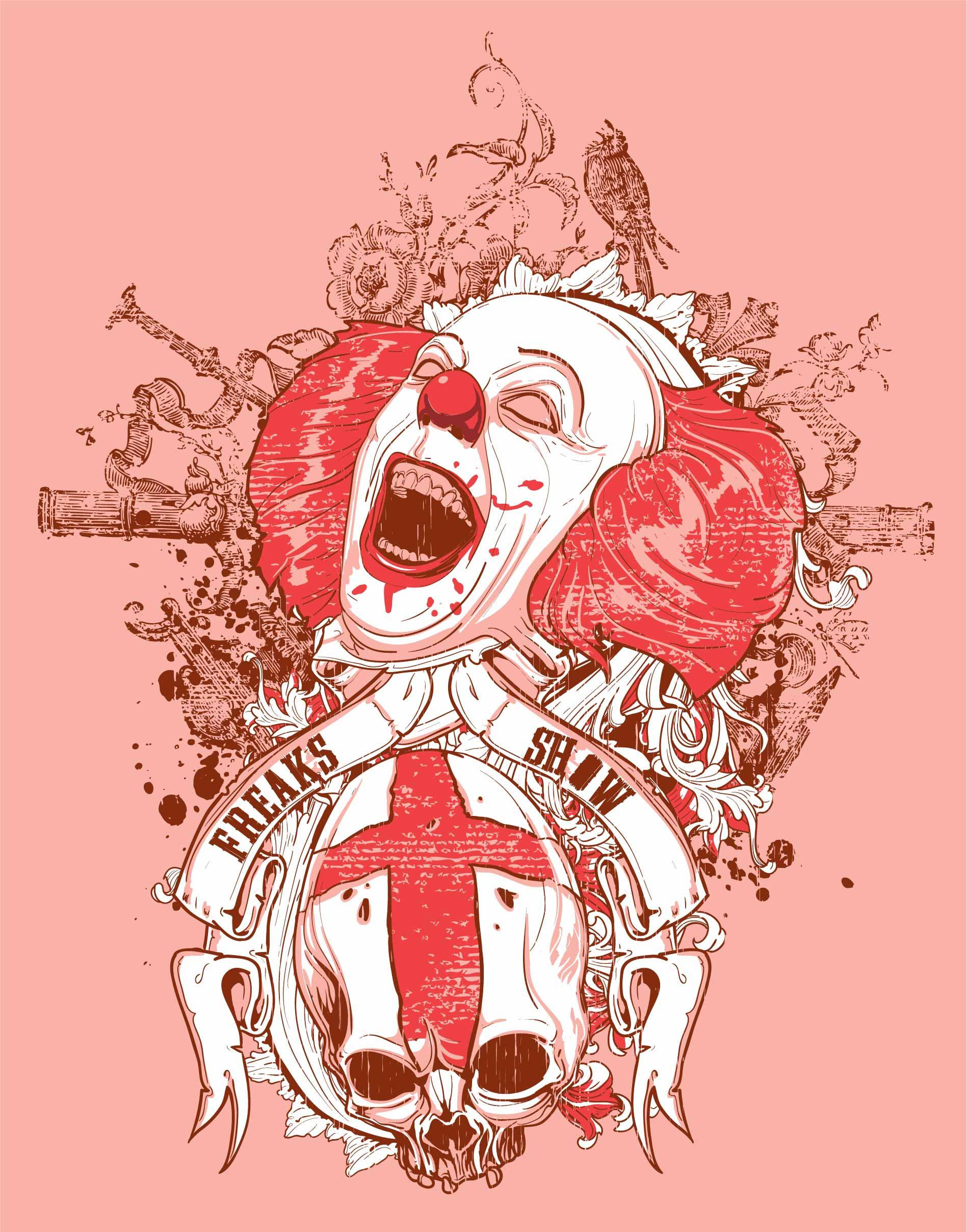 几何花纹小丑图案印花矢量图服装裁片T恤烫图印花花型素材-POP花型网