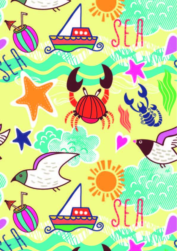 动物卡通螃蟹飞鸟印花矢量图服装纺织数码印花花型素材-POP花型网