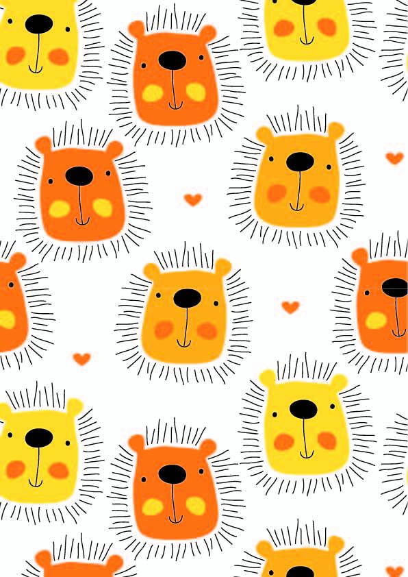 卡通动物狮子印花矢量图服装纺织数码印花花型素材-POP花型网