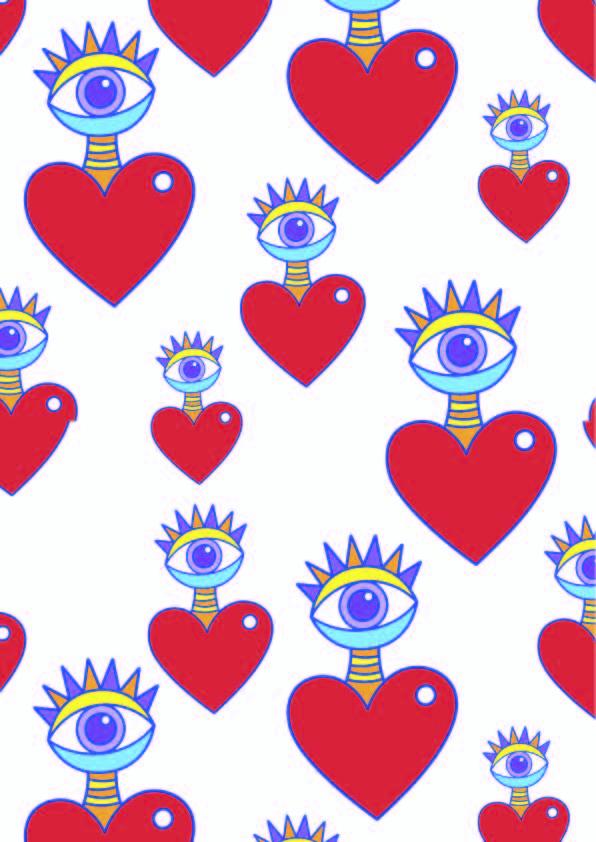几何图案爱心印花矢量图服装纺织数码印花花型素材-POP花型网