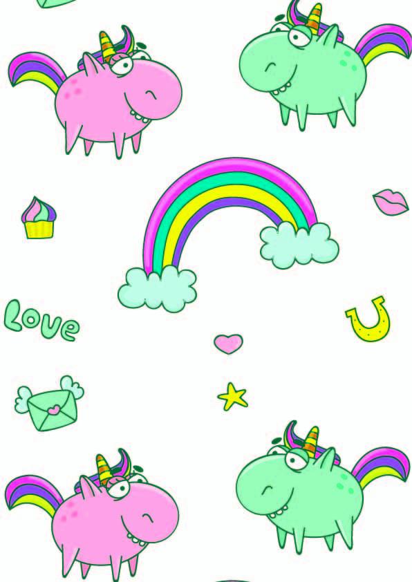 卡通动物独角兽彩虹印花矢量图服装纺织数码印花花型素材-POP花型网