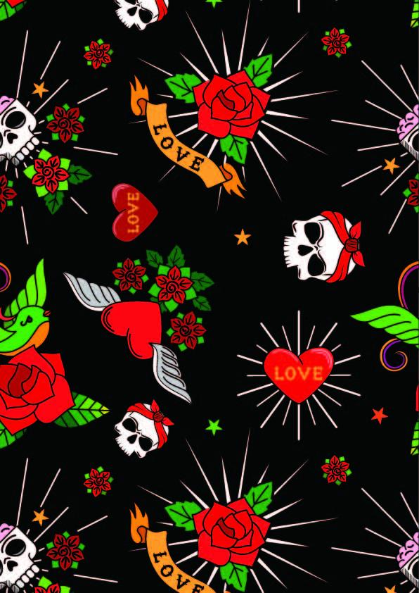 骷髅头牡丹花字母印花矢量图服装纺织数码印花花型素材-POP花型网