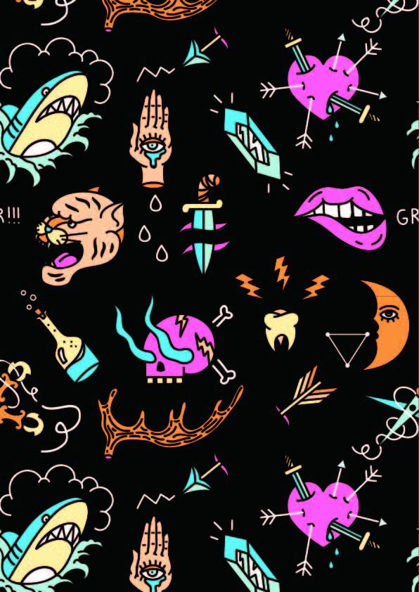 几何卡通图案鲨鱼豹子骷髅头印花矢量图服装纺织数码印花花型素材-POP花型网