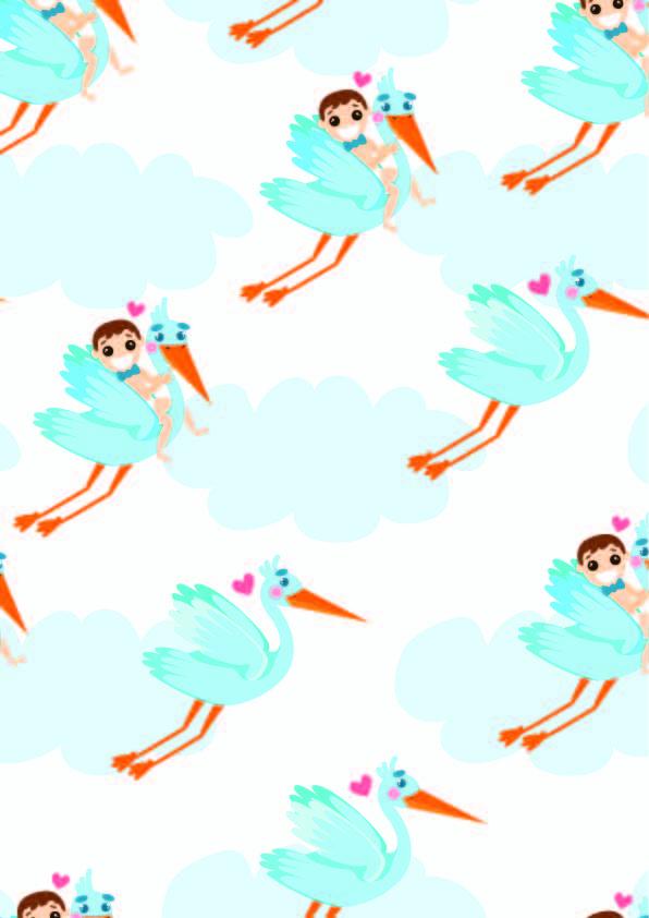 卡通人物飞鸟印花矢量图服装纺织数码印花花型素材-POP花型网