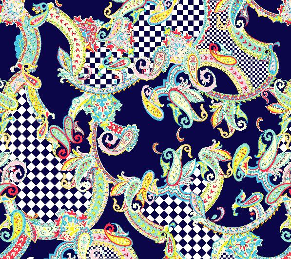 几何花纹格子腰果花印花矢量图服装纺织水印数码印花金昌花型素材-POP花型网