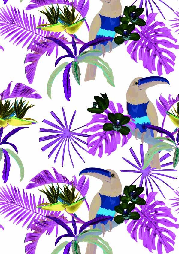 植物花纹动物大嘴鸟印花矢量图服装纺织数码印花花型素材-POP花型网
