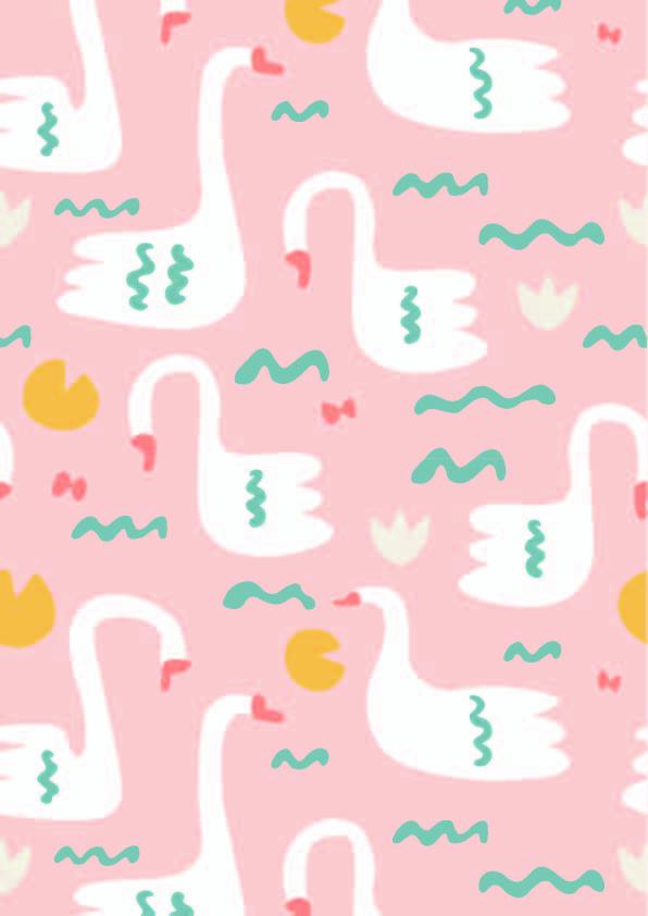 卡通涂鸦天鹅印花矢量图服装纺织数码印花花型素材-POP花型网
