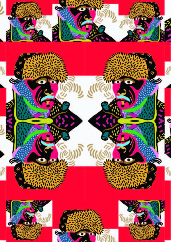 几何人物图案印花矢量图服装纺织数码印花花型素材-POP花型网