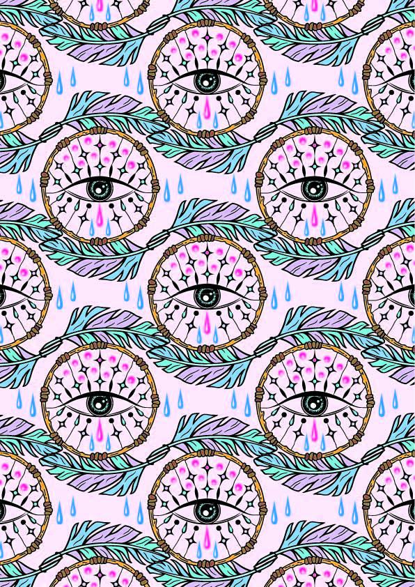 几何花纹眼睛印花矢量图服装纺织数码印花花型素材-POP花型网