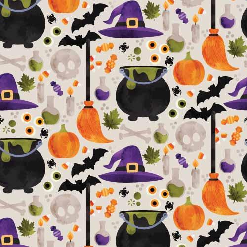 卡通图案骷髅头万圣节风印花矢量图服装纺织数码印花花型素材-POP花型网