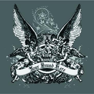 几何花纹雕塑翅膀字母印花矢量图服装裁片T恤烫图印花花型素材-POP花型网