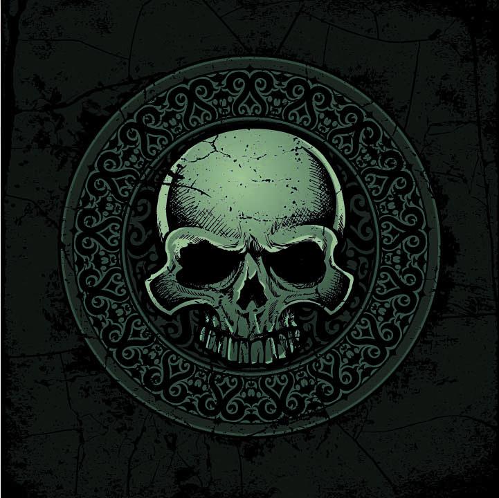 几何复古花纹骷髅头印花矢量图服装裁片T恤烫图印花花型素材-POP花型网