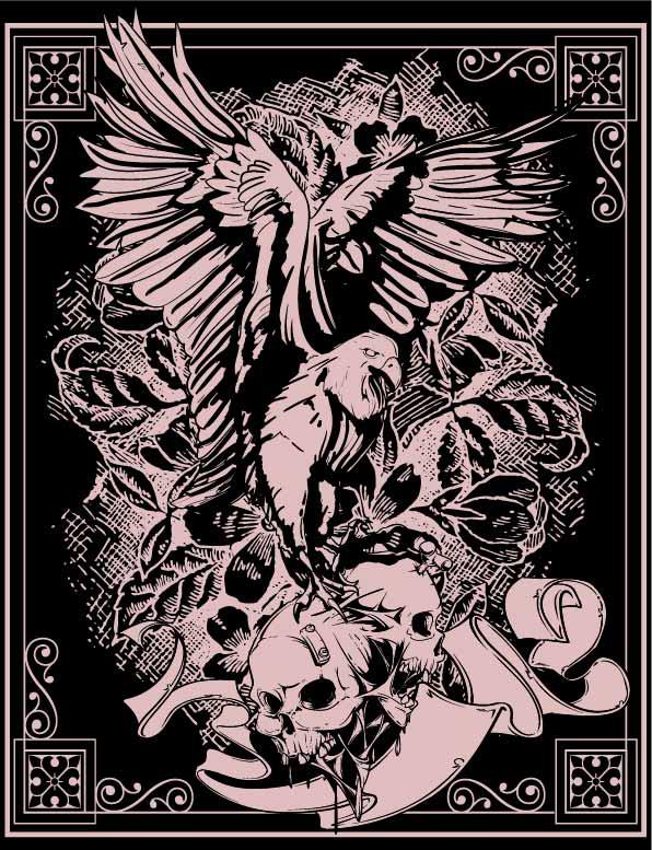几何花纹老鹰骷髅头印花矢量图服装裁片T恤烫图印花花型素材-POP花型网