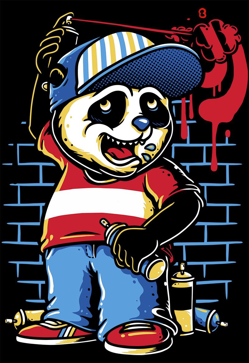 潮牌卡通熊涂鸦印花矢量图服装裁片T恤烫图印花花型素材-POP花型网