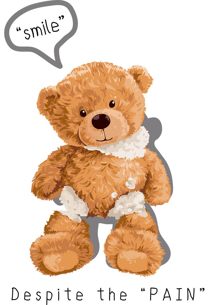 潮牌卡通熊字母smile印花矢量图服装裁片T恤烫图印花花型素材-POP花型网