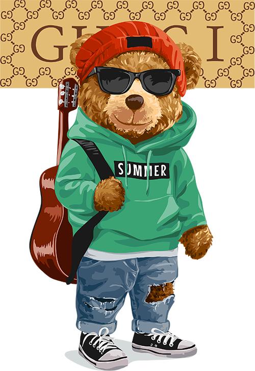潮牌卡通熊字母吉他印花矢量图服装裁片T恤烫图印花花型素材-POP花型网